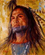 Mandan Portrait, Native American Painting, James Ayers