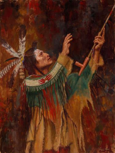 Blackfoot-Reverence-Blackfoot-Peace-Pipe-Painting-Native-American-James-Ayers