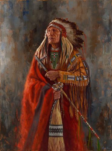 Keeper of the Pipe, Arikara chief painting, James Ayers