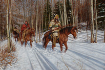 Hunters of the Aspen Forest, Montana Blackfeet hunters painting, by James Ayers