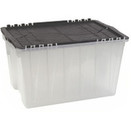 """CD383 Plastic Containers (BLACK flip top) 21.5""""Lx15""""Wx12.5""""H"""