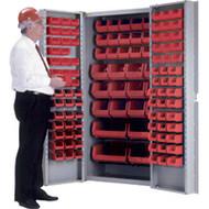 "CB444 Storage Cabinets Red bins38""Wx24""Dx72""H"
