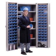 "CB446 Storage Cabinets Blue bins38""Wx24""Dx72""H"