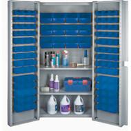 """CF371 Storage Cabinets Blue bins38""""Wx24""""Dx72""""H"""
