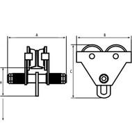 LS555 Plain Adj Trolleys 10,000-lb cap