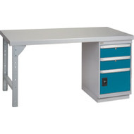 """FG104 Workbenches (steel-wood fill tops) 24""""Wx60""""Lx34""""H"""