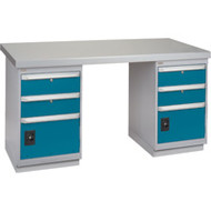 """FG242 Workbenches (steel-wood fill tops) 30""""Wx60""""Lx34""""H"""