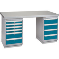 """FG627 Workbenches (steel-wood fill tops) 30""""Wx60""""Lx34""""H"""