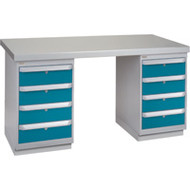 """FG225 Workbenches (steel-wood fill tops) 24""""Wx60""""Lx34""""H"""