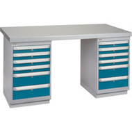 """FG411 Workbenches (steel-wood fill tops) 24""""Wx60""""Lx34""""H"""