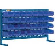 """CB145 LOUVERED Bench Racks/BLUE bins 4 1/8""""W x 5 3/8""""D x 3""""H"""
