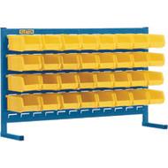 "CB147 LOUVERED Bench Racks/YELLOW bins 4 1/8""W x 5 3/8""D x 3""H"