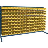 "CB174 LOUVERED Bench Racks/YELLOW bins 4 1/8""W x 7 3/8""D x 3""H"