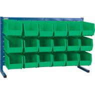 "CF363 LOUVERED Bench Racks/GREEN bins 5 1/2""W x 10 7/8""D x 5""H"