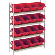 "RL980 Shelving (w/16 RED plastic bins)  66""Wx18""Dx72""H"