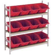 "RL984 Shelving (w/12 RED plastic bins)  66""Wx18""Dx60""H"