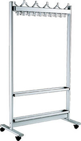 """Aluminum Rolling 39"""" Wide Hat and Coat Rack with Umbrella Stand 383-190"""