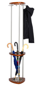 Wood and Steel Coat Tree with Umbrella Stand 204-177 - Cherry