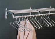 Aluminum Wall-Mounted Coat Rack with Hanger Bar and Storage Shelf 176-901 - Multiple Sizes