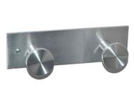 Wall-Mounted Aluminum Double Coat Knob Panel 170-412 - Satin Aluminum Finish