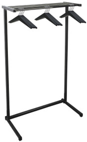 "Standing Single Sided Steel Coat Rack with Shelf plus Optional  Umbrella Holder, Boot Rack and Casters 150-314 - 36"" Wide with 12 Hangers"