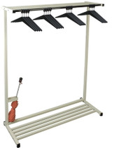 "Standing Single Sided Steel Coat Rack with Shelf plus Optional  Umbrella Holder, Boot Rack and Casters 150-315 - 48"" Wide with 16 Hangers"