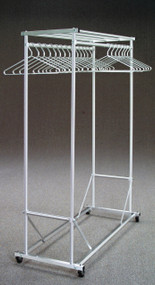 Rolling Aluminum Coat Rack with Double Hanger Bar and Storage Shelf  179-240 - 2 Sizes