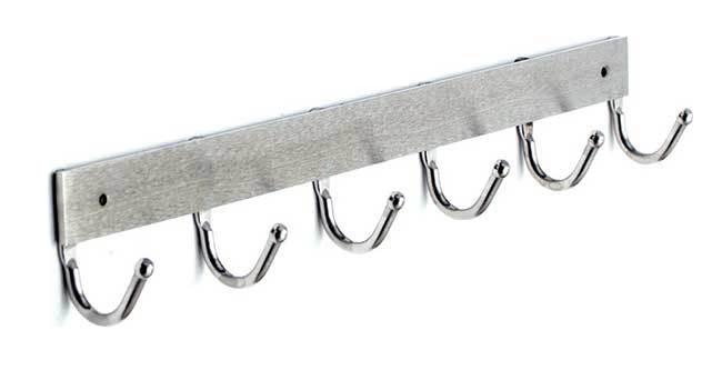 Heavy Duty Steel Wall Mounted 6 Coat Hooks Short Rail 152-400
