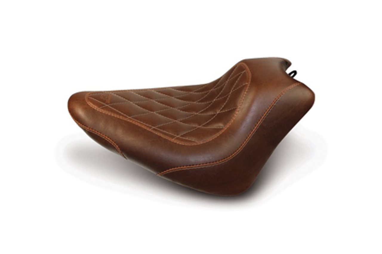 Mustang  Wide Tripper Solo Seat<br>for FXS Blackline & FLS Slim 2012-Up<br>-Distressed Brown w/ Diamond Pattern