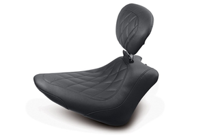Mustang  Wide Tripper Solo Seat for FXS Blackline & FLS Slim 2012-Up -w/ Driver Backrest -Diamond Stitch