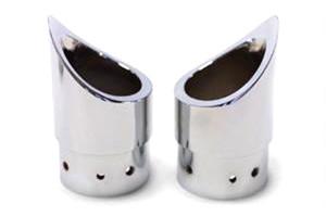 Baron Customs Family Jewel Exhaust Tips Mini Scalloped Each -Chrome