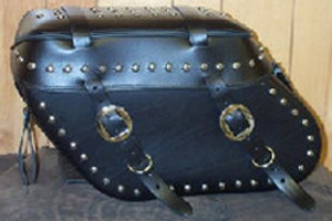 Leather Pro 3100 Series Leather Saddlebags for Dyna '93-Up (Click for Details)  -Studded with Cargo Straps