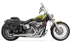 Bassani Exhaust Road Rage 2-Into-1 w/ Short Megaphone Muffler for '13-up Softail Breakout/CVO & '08-11 Rocker/C  '09 Springer FXSTSSE 3 -Chrome