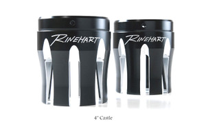 Rinehart Racing Replacement End Caps for Rinehart True Duals & FL Slip On Mufflers 4 Inch Machined Castle Style -Pair