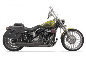 Bassani Exhaust Road Rage 2-Into-1 w/ Short Megaphone Muffler for '13-up Softail Breakout/CVO & '08-11 Rocker/C  -Black