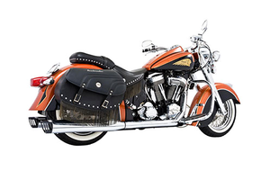 Freedom Performance Exhaust Dual System w/ 4 inch Racing Mufflers for Indian Chief Deluxe/Roadmaster/Standard & Vintage '09-13 -Chrome w/ Black End Caps