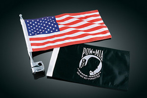 Kuryakyn Vertical Mount Flags American Flag & P.O.W Fits 1/2&#34 Bars