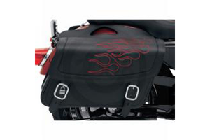 Saddlemen  Highwayman Tattoo Saddlebags -Dark Red Stitching Large