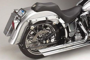Cycle Visions Bagger-Tail Black bag Mounts for '08-13 FLST/C/N w/ Lo-Mount Exhaust  Saddlebags sold separately