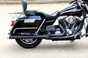 Rinehart Exhaust  2-into-1 Exhaust for FLHT/FLHR/FLTR/FLHX '95-08-Black w/ Chrome Tips