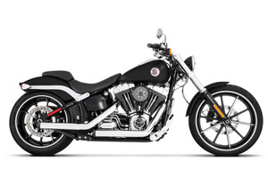 Rinehart Racing Kick Back Exhaust System  for '07-Later Softail Models Chrome with Black End Caps