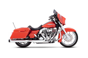 Rinehart Racing Slip-on Mufflers for '95-16 FL Models 4-inch Chrome w/ Black End Caps