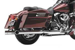Cobra  3 Inch   Slip On Mufflers w/ Billet Tips for H-D Touring Models '95-16 -Black (Shown in Chrome)