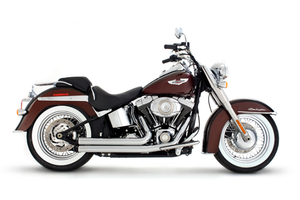 Rinehart 2-Into-2 Exhaust  for Softails '86-Up - Flush-cut, Black End Caps