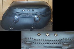 Leather Pro 3000 Series Leather Saddlebags for HD Fat Boy w/ Stock Exhaust  -Laced Lid & 3 Studs