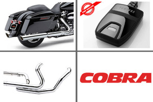 Cobra Complete Pwr Package for 2017 HD Touring with Chrome 909 Slip Ons