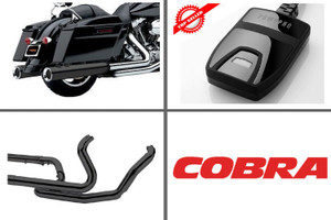 Cobra Complete Pwr Package for 2017 HD Touring with Black PowrFlo Slip Ons