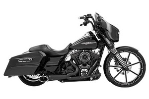 Freedom Performance 2-into-1 Turn Out for '17-Up Harley Davidson Touring Models - Black w/ Black Tip