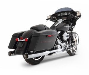Rinehart Racing 4 inch Slimline Dual Exhaust System for '17-Up Harley Davidson Touring Models - Chrome w Chrome End Caps