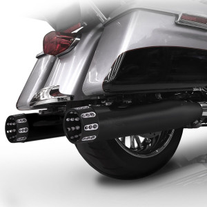RC Components 4.5 inch Slip On Mufflers for Harley Davidson Touring Models '17-Up - Black (10 Tip Styles To Choose From)